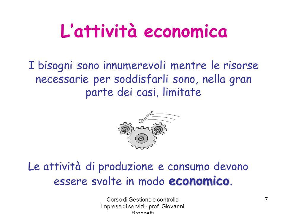 Corso di Gestione e controllo imprese di servizi - prof. Giovanni Bronzetti 7 L'attività economica I bisogni sono innumerevoli mentre le risorse neces