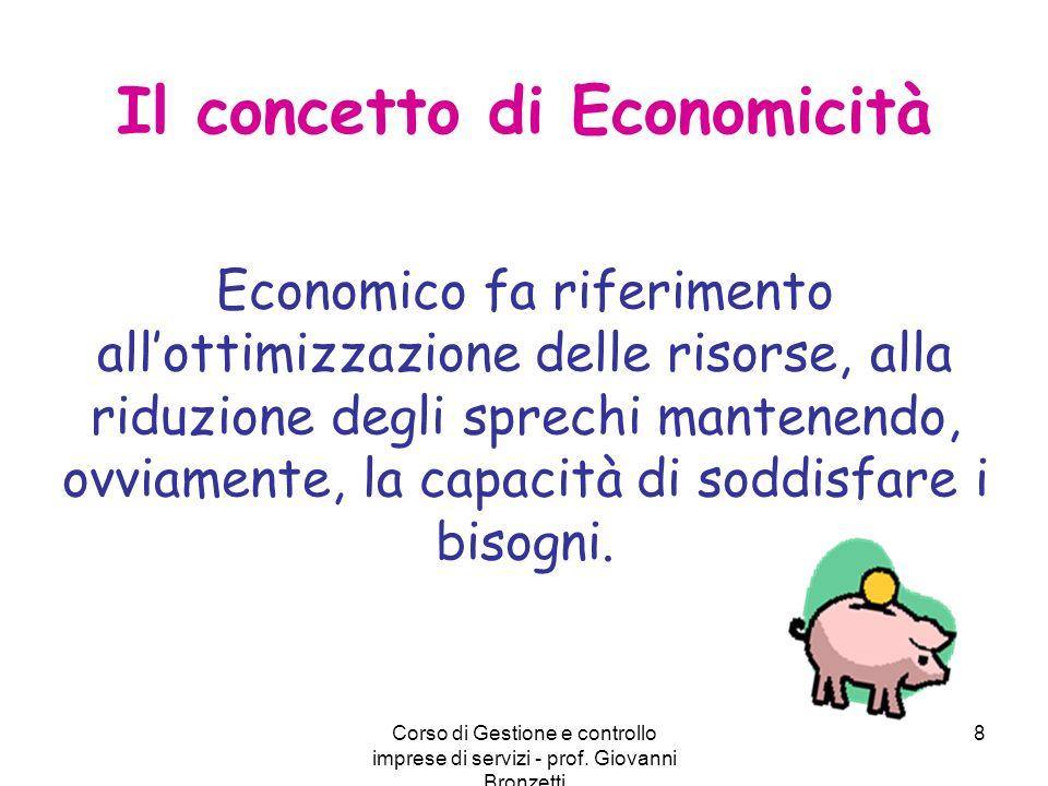 Corso di Gestione e controllo imprese di servizi - prof. Giovanni Bronzetti 8 Il concetto di Economicità Economico fa riferimento all'ottimizzazione d