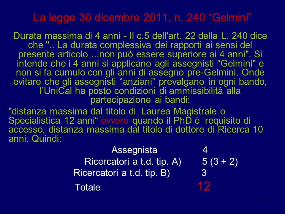 """15 La legge 30 dicembre 2011, n. 240 """"Gelmini"""" Durata massima di 4 anni - Il c.5 dell'art. 22 della L. 240 dice che"""
