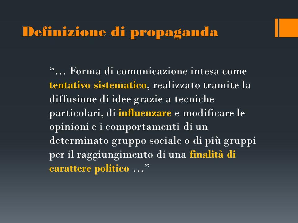 Le teorie della propaganda politica La propaganda può mutare i comportamenti sociali (Lasswell, McLuhan) La propaganda non crea nuovi orientamenti, ma rafforza quelli già esistenti (Lazarsfeld) Il pubblico prende ciò che più gli serve (Katz, Blumler)