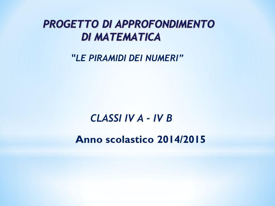 LE PIRAMIDI DEI NUMERI CLASSI IV A - IV B Anno scolastico 2014/2015