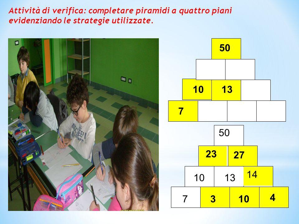 7 10 50 13 23 103 50 1310 7 27 14 4 Attività di verifica: completare piramidi a quattro piani evidenziando le strategie utilizzate.