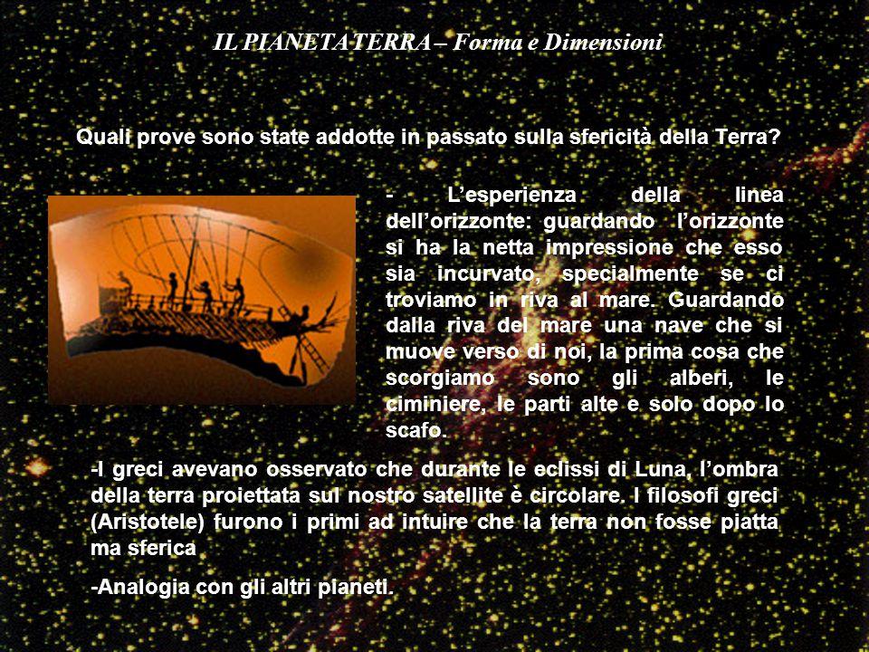 Quali prove sono state addotte in passato sulla sfericità della Terra? - L'esperienza della linea dell'orizzonte: guardando l'orizzonte si ha la netta