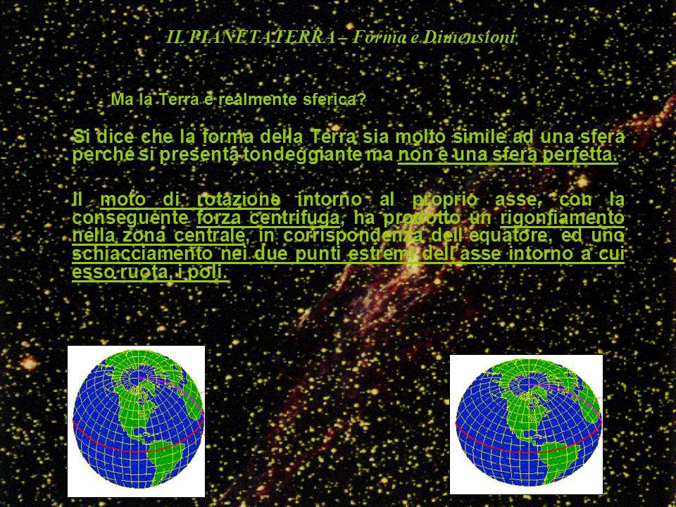 Sarebbe più esatto dire che la Terra ha la forma di un ellissoide, cioè di quel solido geometrico che si ottiene dalla rotazione di un ellisse intorno al proprio asse minore, che nel caso della Terra è l'asse intorno al quale ruota il pianeta Se diciamo che la Terra ha la forma di un ellissoide, abbiamo fatto un passo in avanti ma non siamo ancora vicini alla realtà ….