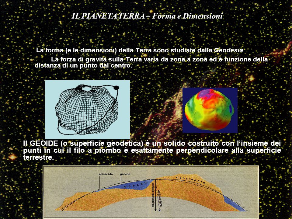 La forma (e le dimensioni) della Terra sono studiate dalla Geodesia La forza di gravità sulla Terra varia da zona a zona ed è funzione della distanza