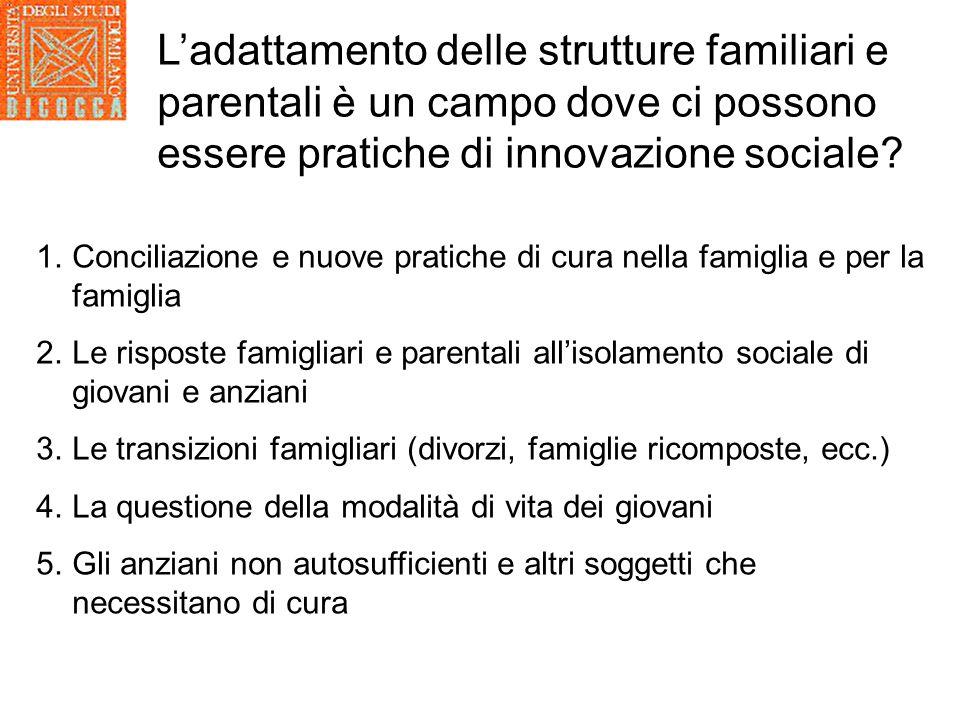 L'adattamento delle strutture familiari e parentali è un campo dove ci possono essere pratiche di innovazione sociale.