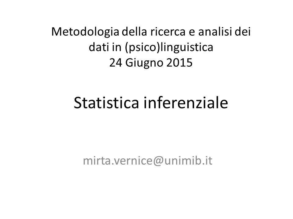 Metodologia della ricerca e analisi dei dati in (psico)linguistica 24 Giugno 2015 Statistica inferenziale mirta.vernice@unimib.it