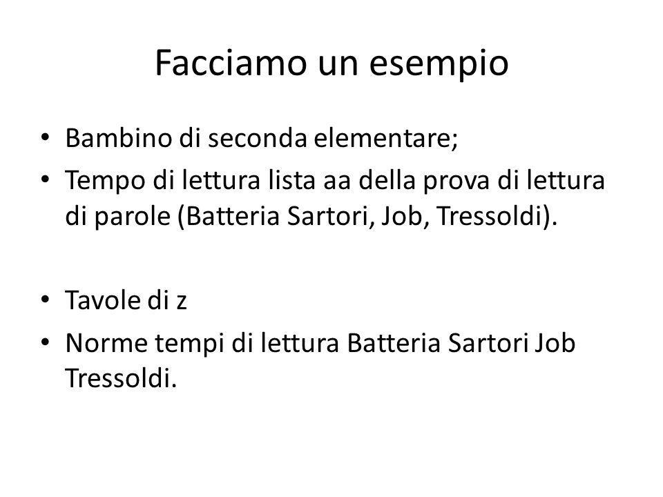Facciamo un esempio Bambino di seconda elementare; Tempo di lettura lista aa della prova di lettura di parole (Batteria Sartori, Job, Tressoldi). Tavo