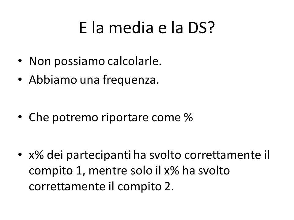 E la media e la DS? Non possiamo calcolarle. Abbiamo una frequenza. Che potremo riportare come % x% dei partecipanti ha svolto correttamente il compit