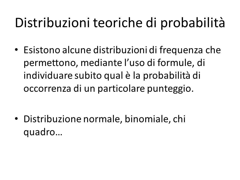 Distribuzioni teoriche di probabilità Esistono alcune distribuzioni di frequenza che permettono, mediante l'uso di formule, di individuare subito qual