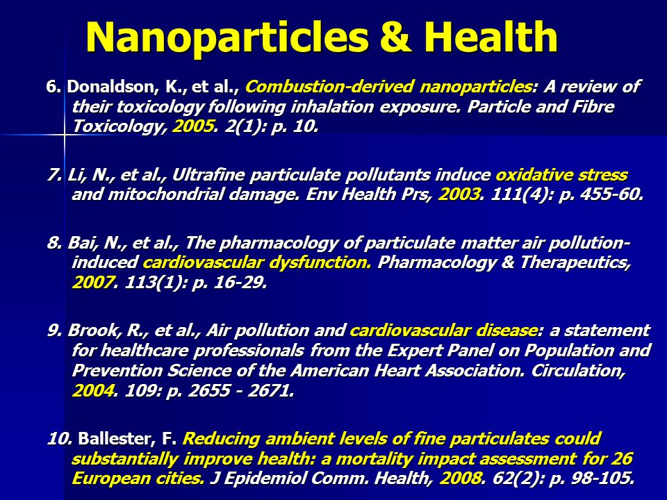 Nanoparticles & Health 6.