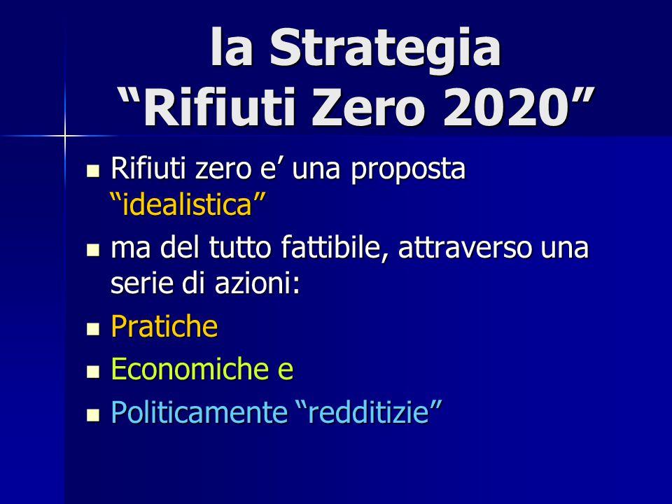 la Strategia Rifiuti Zero 2020 Rifiuti zero e' una proposta idealistica Rifiuti zero e' una proposta idealistica ma del tutto fattibile, attraverso una serie di azioni: ma del tutto fattibile, attraverso una serie di azioni: Pratiche Pratiche Economiche e Economiche e Politicamente redditizie Politicamente redditizie