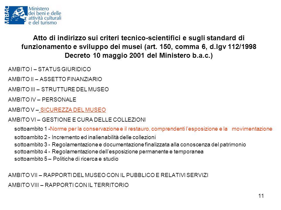 11 Atto di indirizzo sui criteri tecnico-scientifici e sugli standard di funzionamento e sviluppo dei musei (art. 150, comma 6, d.lgv 112/1998 Decreto