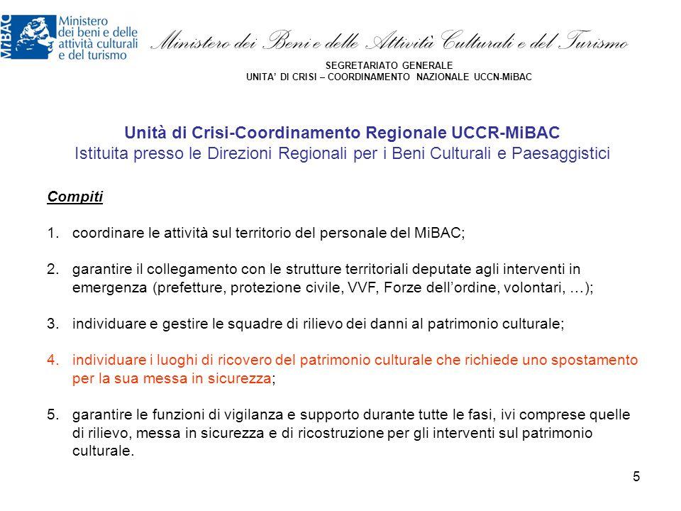 5 Ministero dei Beni e delle Attività Culturali e del Turismo SEGRETARIATO GENERALE UNITA' DI CRISI – COORDINAMENTO NAZIONALE UCCN-MiBAC Compiti 1.coo