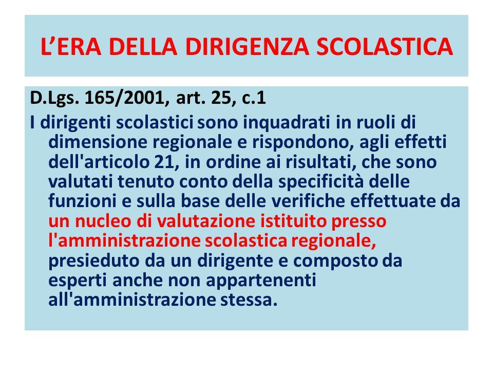 L'ERA DELLA DIRIGENZA SCOLASTICA D.Lgs. 165/2001, art. 25, c.1 I dirigenti scolastici sono inquadrati in ruoli di dimensione regionale e rispondono, a
