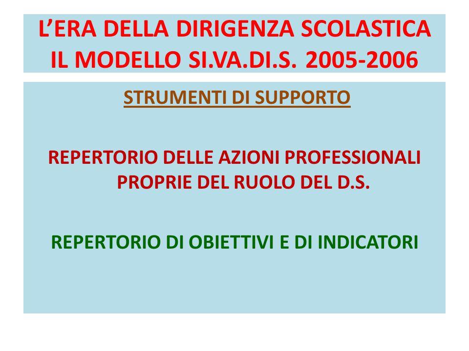 L'ERA DELLA DIRIGENZA SCOLASTICA IL MODELLO SI.VA.DI.S. 2005-2006 STRUMENTI DI SUPPORTO REPERTORIO DELLE AZIONI PROFESSIONALI PROPRIE DEL RUOLO DEL D.