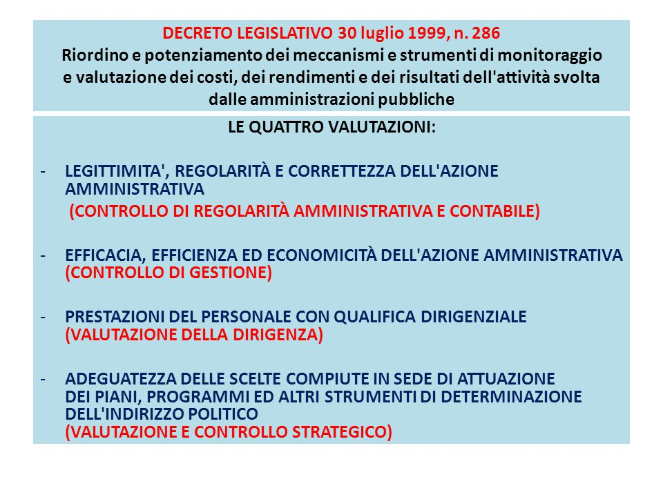 DECRETO LEGISLATIVO 30 luglio 1999, n. 286 Riordino e potenziamento dei meccanismi e strumenti di monitoraggio e valutazione dei costi, dei rendimenti