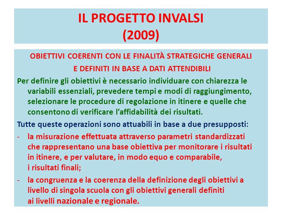IL PROGETTO INVALSI (2009) OBIETTIVI COERENTI CON LE FINALITÀ STRATEGICHE GENERALI E DEFINITI IN BASE A DATI ATTENDIBILI Per definire gli obiettivi è