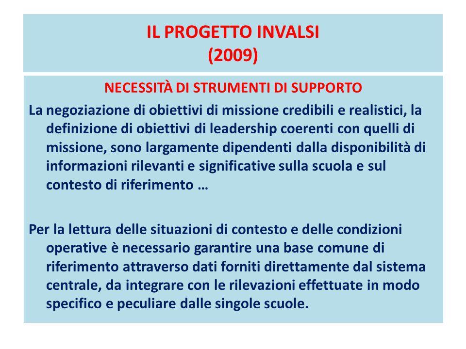 IL PROGETTO INVALSI (2009) NECESSITÀ DI STRUMENTI DI SUPPORTO La negoziazione di obiettivi di missione credibili e realistici, la definizione di obiet
