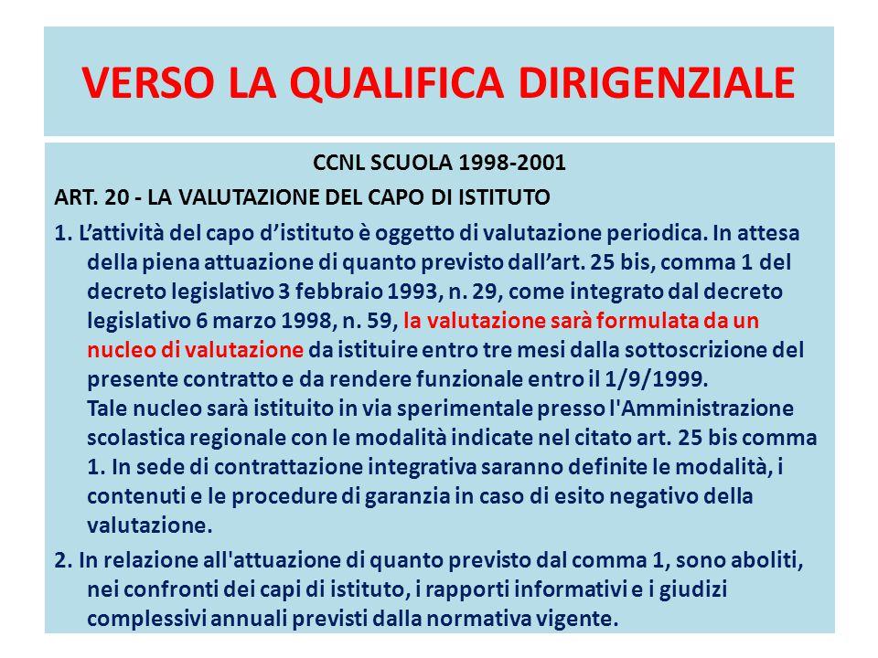 VERSO LA QUALIFICA DIRIGENZIALE CCNL SCUOLA 1998-2001 ART. 20 - LA VALUTAZIONE DEL CAPO DI ISTITUTO 1. L'attività del capo d'istituto è oggetto di val
