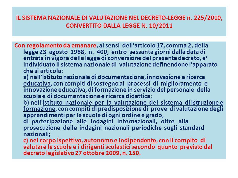 IL SISTEMA NAZIONALE DI VALUTAZIONE NEL DECRETO-LEGGE n. 225/2010, CONVERTITO DALLA LEGGE N. 10/2011 Con regolamento da emanare, ai sensi dell'articol