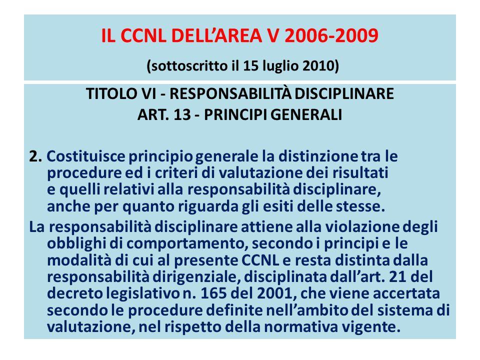 IL CCNL DELL'AREA V 2006-2009 (sottoscritto il 15 luglio 2010) TITOLO VI - RESPONSABILITÀ DISCIPLINARE ART. 13 - PRINCIPI GENERALI 2. Costituisce prin