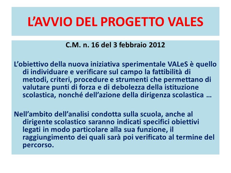 L'AVVIO DEL PROGETTO VALES C.M. n. 16 del 3 febbraio 2012 L'obiettivo della nuova iniziativa sperimentale VALeS è quello di individuare e verificare s
