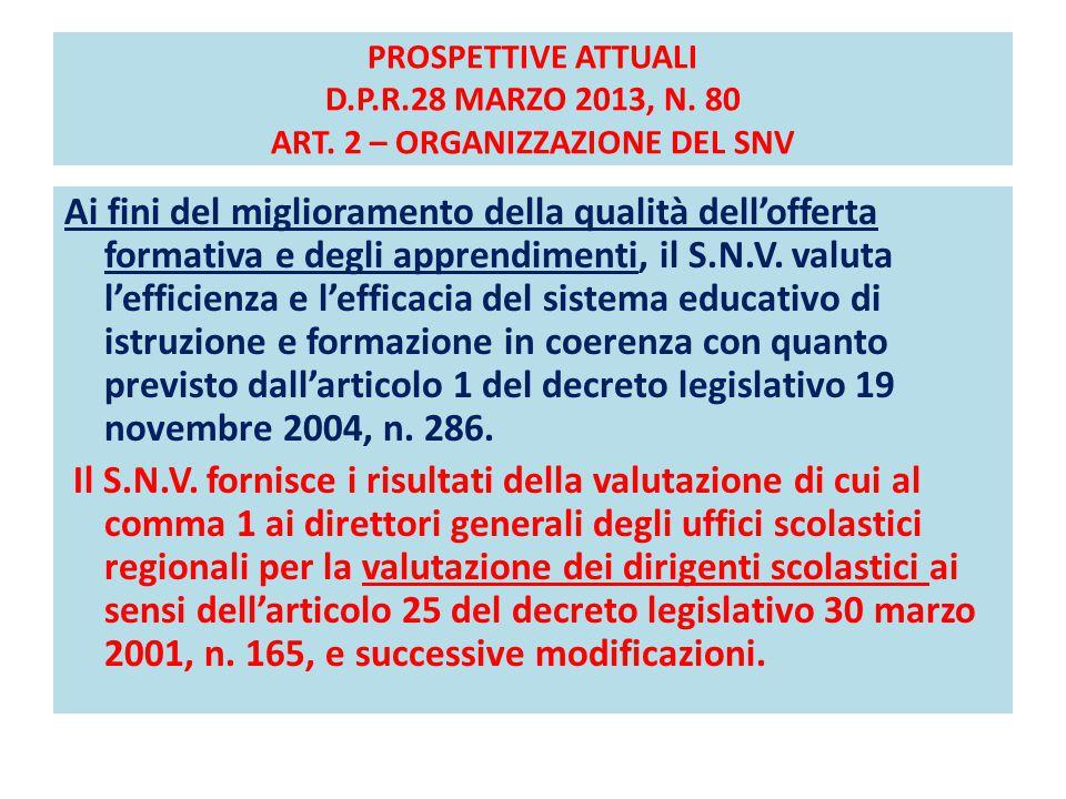 PROSPETTIVE ATTUALI D.P.R.28 MARZO 2013, N. 80 ART. 2 – ORGANIZZAZIONE DEL SNV Ai fini del miglioramento della qualità dell'offerta formativa e degli