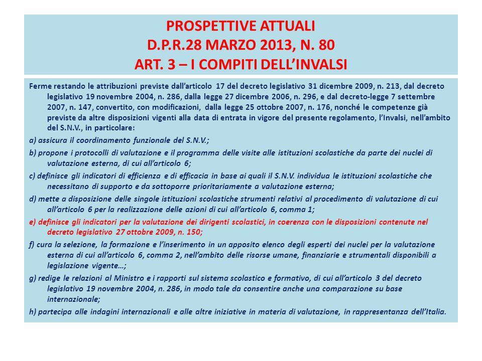 PROSPETTIVE ATTUALI D.P.R.28 MARZO 2013, N. 80 ART. 3 – I COMPITI DELL'INVALSI Ferme restando le attribuzioni previste dall'articolo 17 del decreto le