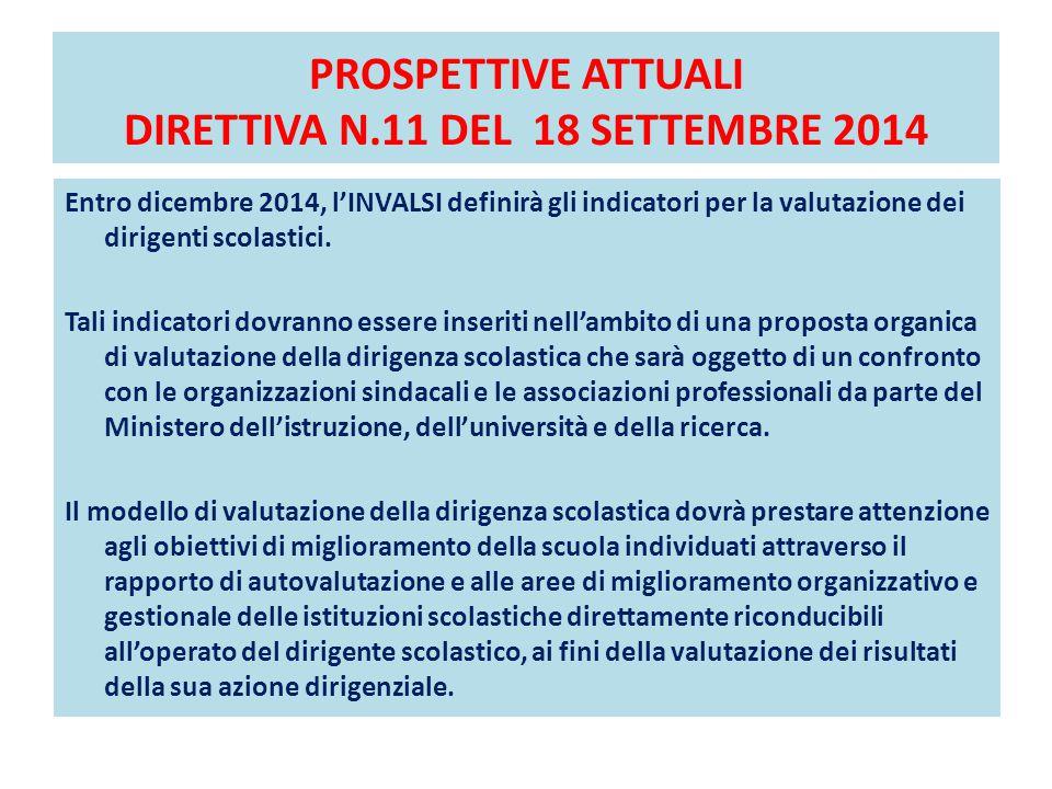 PROSPETTIVE ATTUALI DIRETTIVA N.11 DEL 18 SETTEMBRE 2014 VALUTAZIONE DEI DIRIGENTI SCOLASTICI Entro dicembre 2014, l'INVALSI definirà gli indicatori p