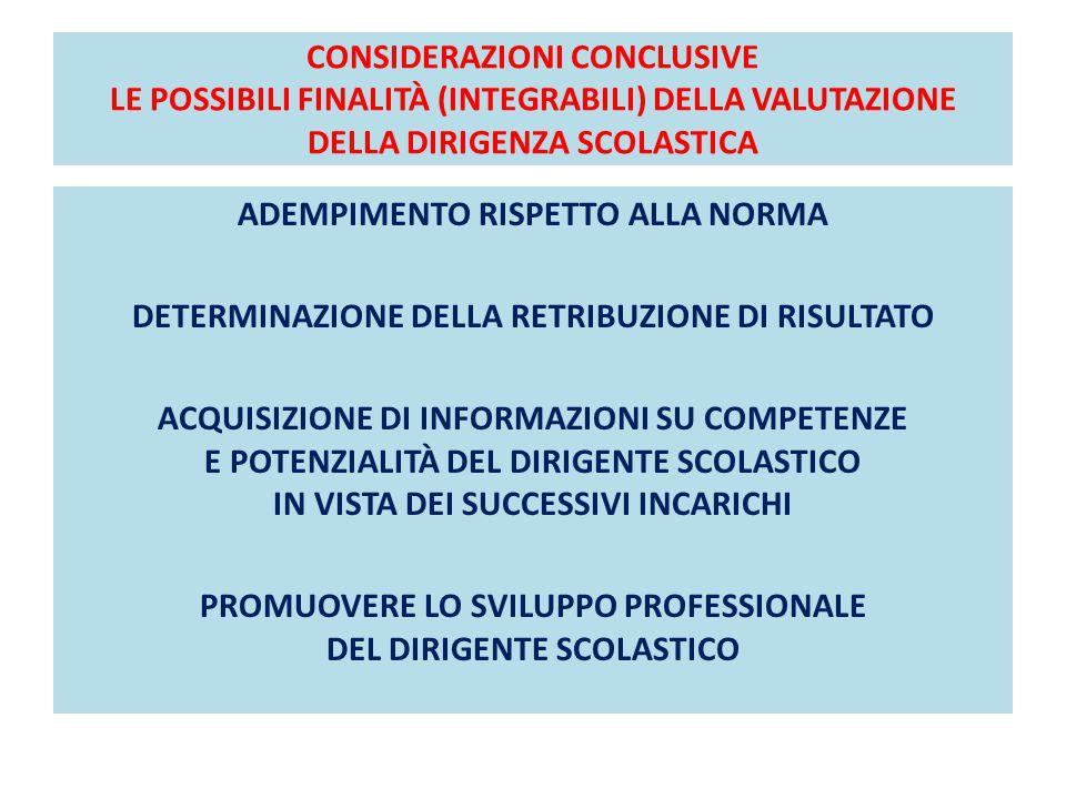 CONSIDERAZIONI CONCLUSIVE LE POSSIBILI FINALITÀ (INTEGRABILI) DELLA VALUTAZIONE DELLA DIRIGENZA SCOLASTICA ADEMPIMENTO RISPETTO ALLA NORMA DETERMINAZI