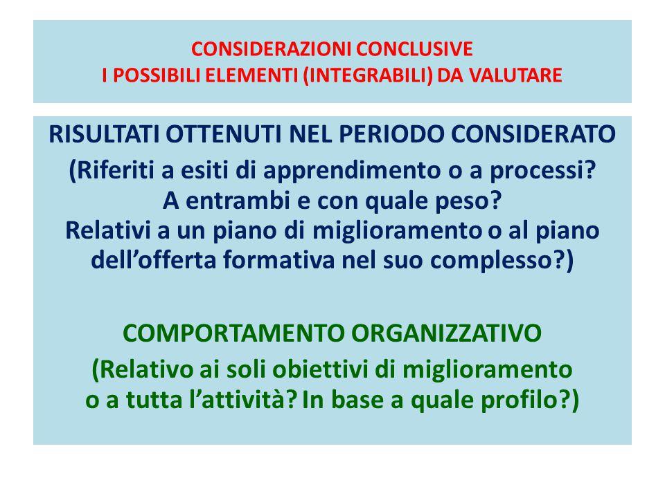 CONSIDERAZIONI CONCLUSIVE I POSSIBILI ELEMENTI (INTEGRABILI) DA VALUTARE RISULTATI OTTENUTI NEL PERIODO CONSIDERATO (Riferiti a esiti di apprendimento