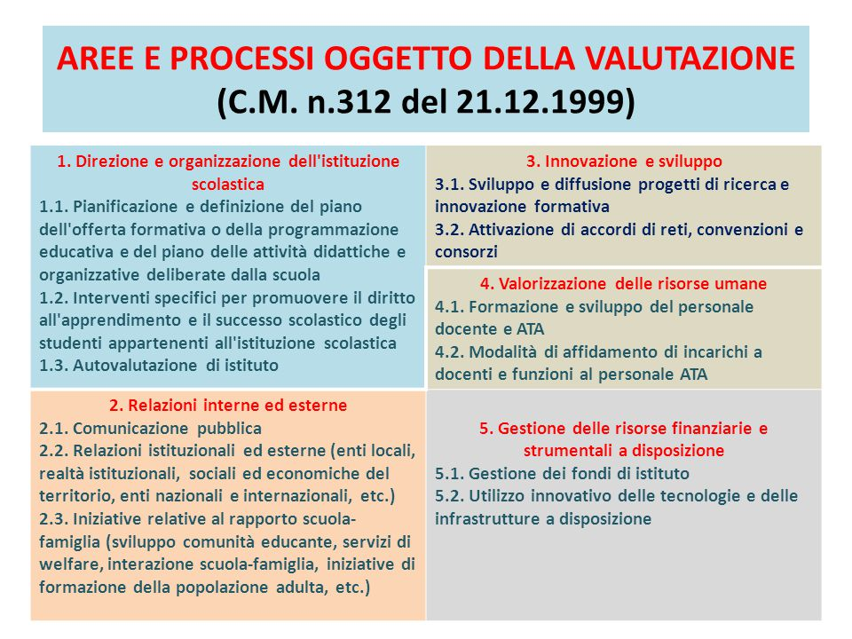AREE E PROCESSI OGGETTO DELLA VALUTAZIONE (C.M. n.312 del 21.12.1999) 1. Direzione e organizzazione dell'istituzione scolastica 1.1. Pianificazione e
