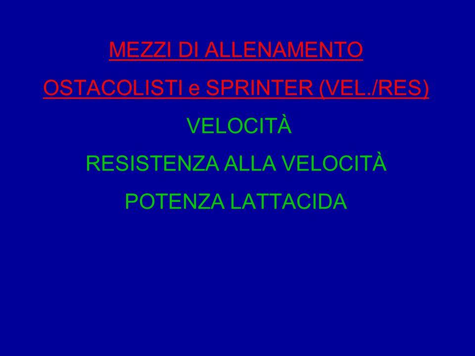 MEZZI DI ALLENAMENTO OSTACOLISTI e SPRINTER (VEL./RES) VELOCITÀ RESISTENZA ALLA VELOCITÀ POTENZA LATTACIDA