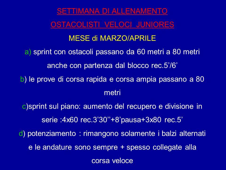 SETTIMANA DI ALLENAMENTO OSTACOLISTI VELOCI JUNIORES MESE di MARZO/APRILE a) sprint con ostacoli passano da 60 metri a 80 metri anche con partenza dal