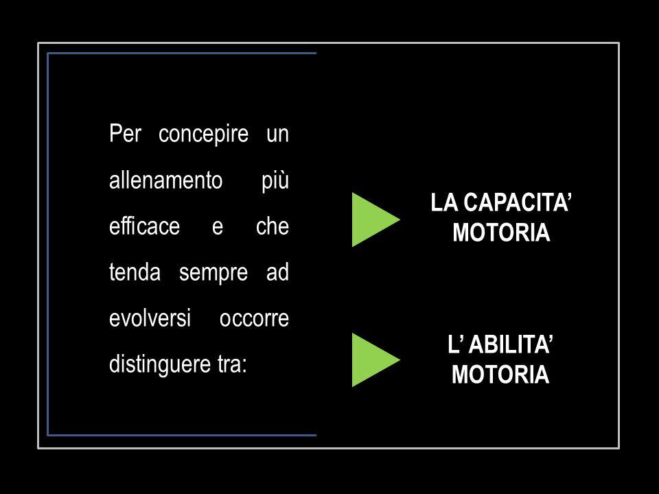 LA CAPACITA' MOTORIA L' ABILITA' MOTORIA Per concepire un allenamento più efficace e che tenda sempre ad evolversi occorre distinguere tra: