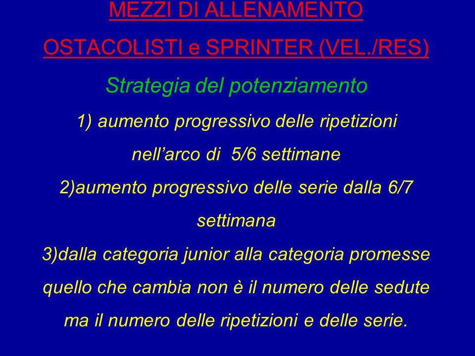 MEZZI DI ALLENAMENTO OSTACOLISTI e SPRINTER (VEL./RES) Strategia del potenziamento 1) aumento progressivo delle ripetizioni nell'arco di 5/6 settimane