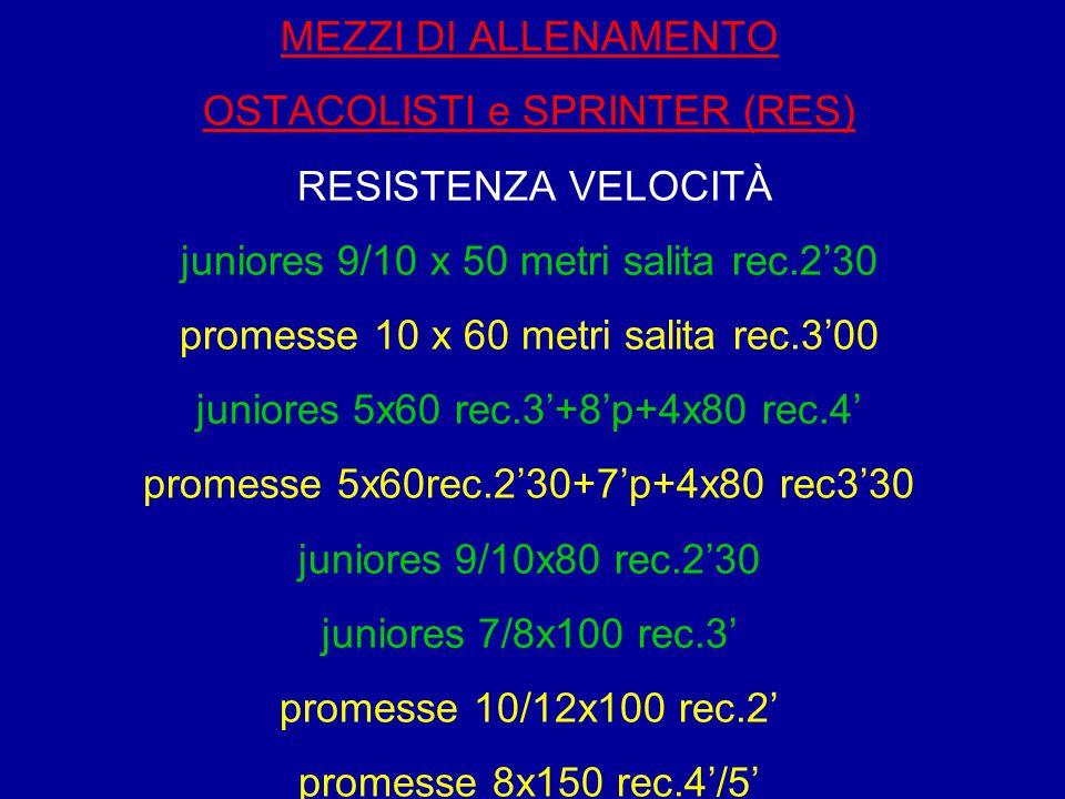 MEZZI DI ALLENAMENTO OSTACOLISTI e SPRINTER (RES) RESISTENZA VELOCITÀ juniores 9/10 x 50 metri salita rec.2'30 promesse 10 x 60 metri salita rec.3'00
