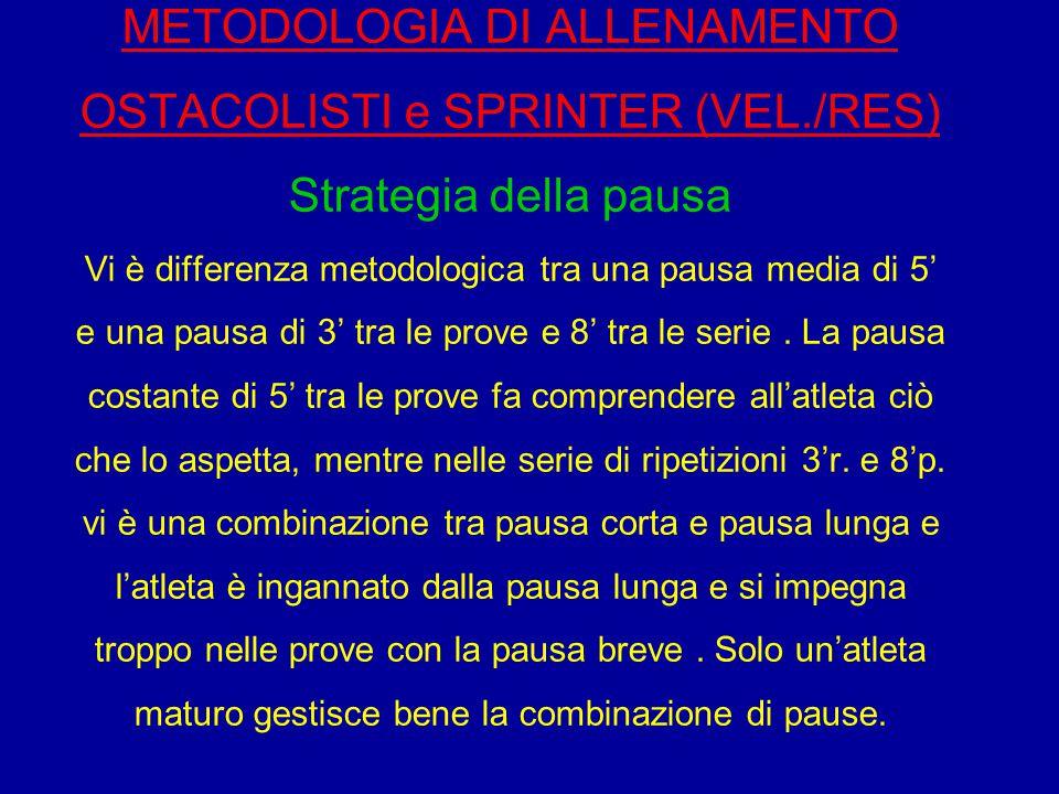 METODOLOGIA DI ALLENAMENTO OSTACOLISTI e SPRINTER (VEL./RES) Strategia della pausa Vi è differenza metodologica tra una pausa media di 5' e una pausa
