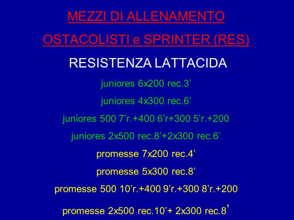 MEZZI DI ALLENAMENTO OSTACOLISTI e SPRINTER (RES) RESISTENZA LATTACIDA juniores 6x200 rec.3' juniores 4x300 rec.6' juniores 500 7'r.+400 6'r+300 5'r.+