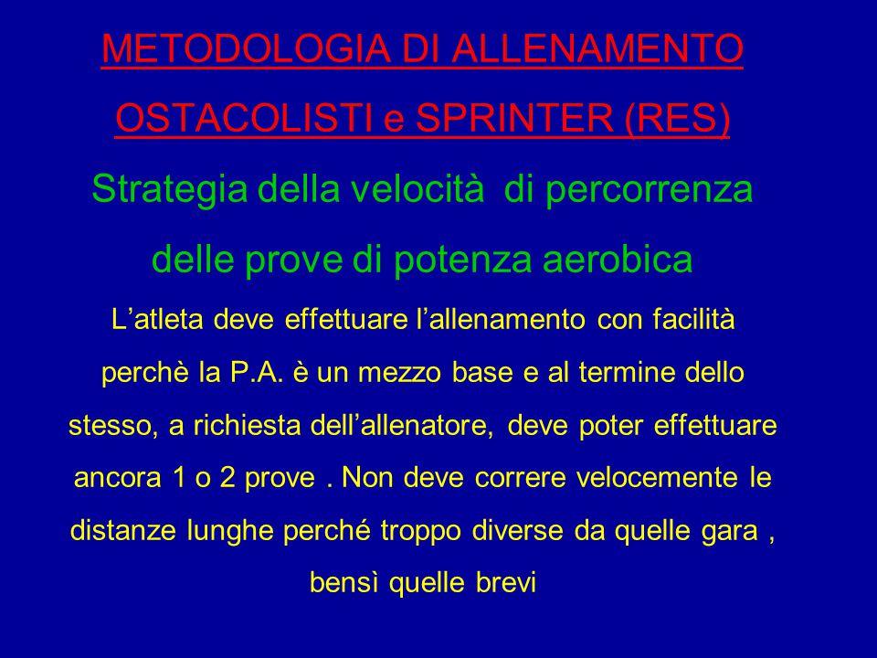 METODOLOGIA DI ALLENAMENTO OSTACOLISTI e SPRINTER (RES) Strategia della velocità di percorrenza delle prove di potenza aerobica L'atleta deve effettua