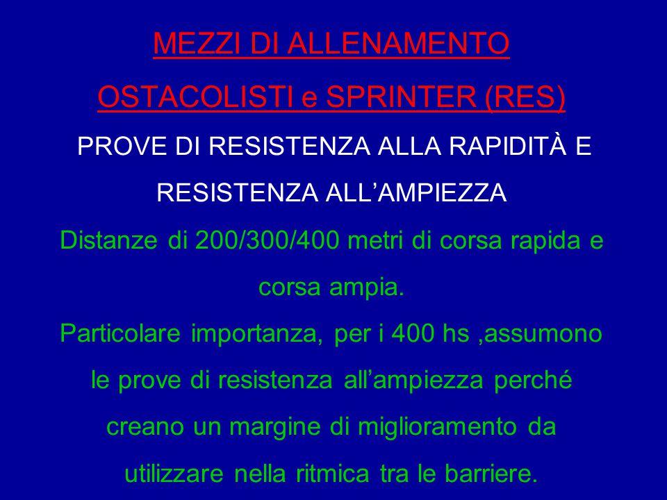 MEZZI DI ALLENAMENTO OSTACOLISTI e SPRINTER (RES) PROVE DI RESISTENZA ALLA RAPIDITÀ E RESISTENZA ALL'AMPIEZZA Distanze di 200/300/400 metri di corsa r