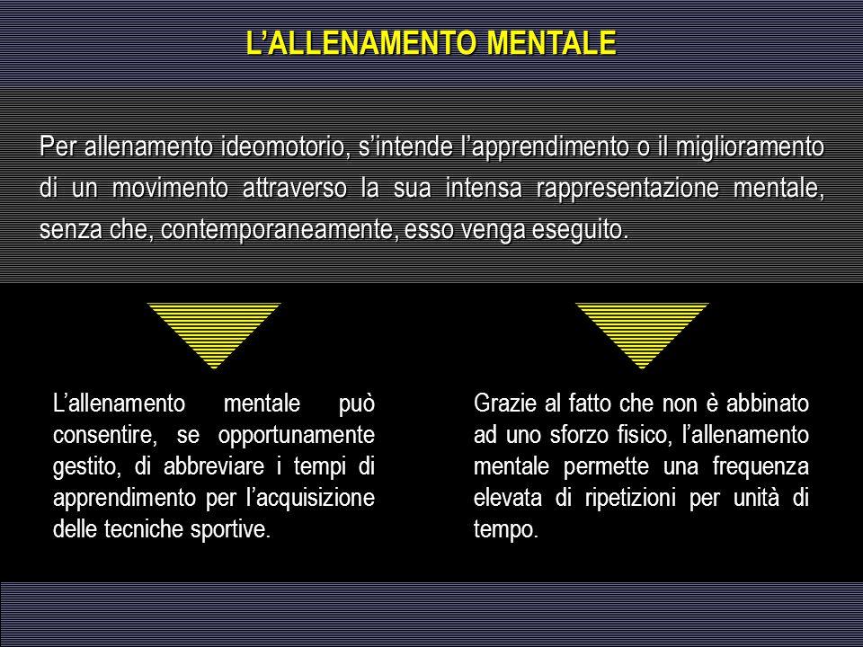 L'allenamento mentale può consentire, se opportunamente gestito, di abbreviare i tempi di apprendimento per l'acquisizione delle tecniche sportive. Gr
