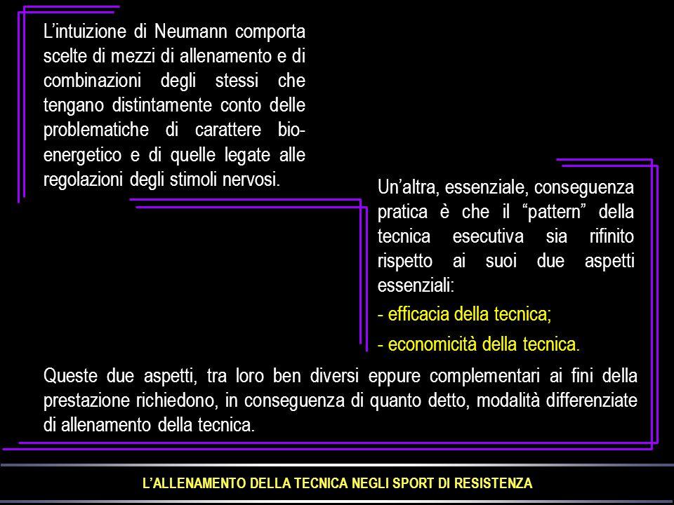 L'intuizione di Neumann comporta scelte di mezzi di allenamento e di combinazioni degli stessi che tengano distintamente conto delle problematiche di