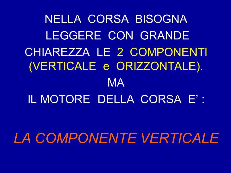 NELLA CORSA BISOGNA LEGGERE CON GRANDE CHIAREZZA LE 2 COMPONENTI (VERTICALE e ORIZZONTALE). MA IL MOTORE DELLA CORSA E' : LA COMPONENTE VERTICALE