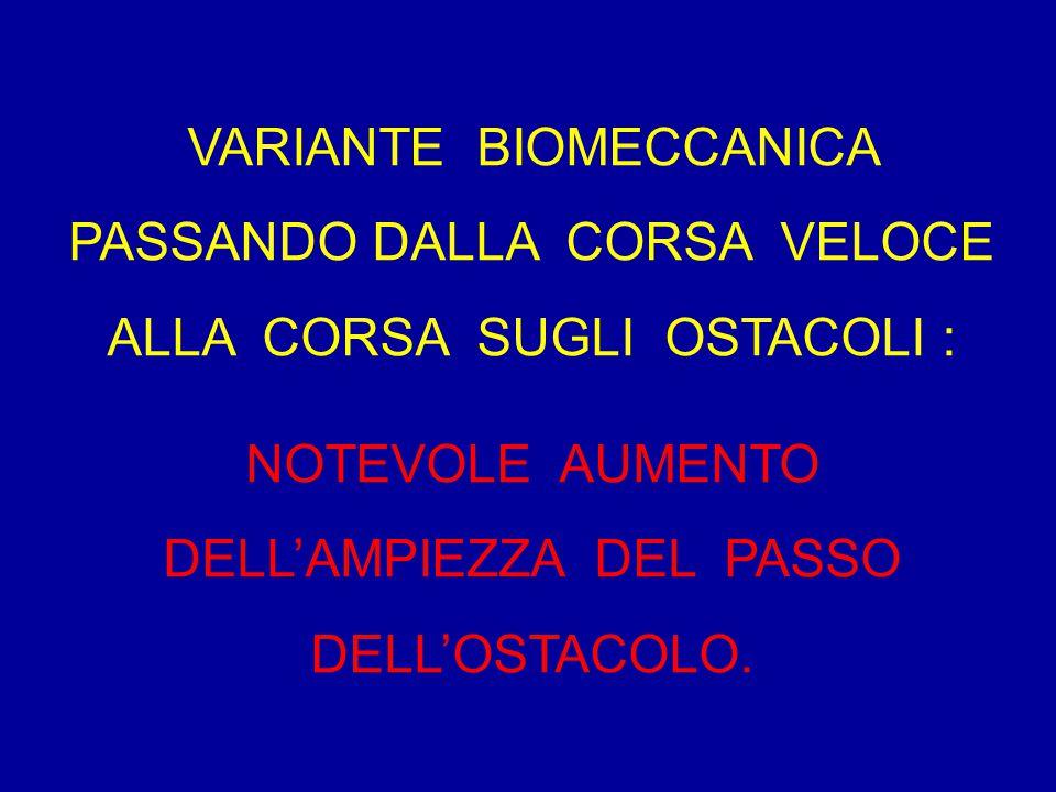 VARIANTE BIOMECCANICA PASSANDO DALLA CORSA VELOCE ALLA CORSA SUGLI OSTACOLI : NOTEVOLE AUMENTO DELL'AMPIEZZA DEL PASSO DELL'OSTACOLO.
