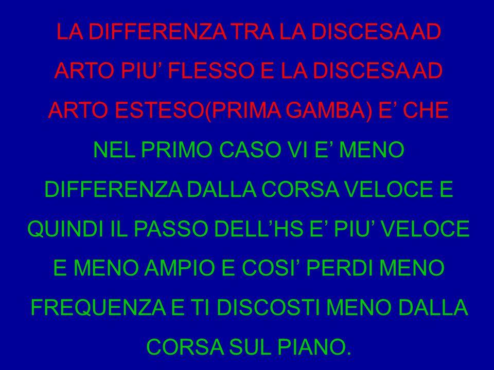 LA DIFFERENZA TRA LA DISCESA AD ARTO PIU' FLESSO E LA DISCESA AD ARTO ESTESO(PRIMA GAMBA) E' CHE NEL PRIMO CASO VI E' MENO DIFFERENZA DALLA CORSA VELO