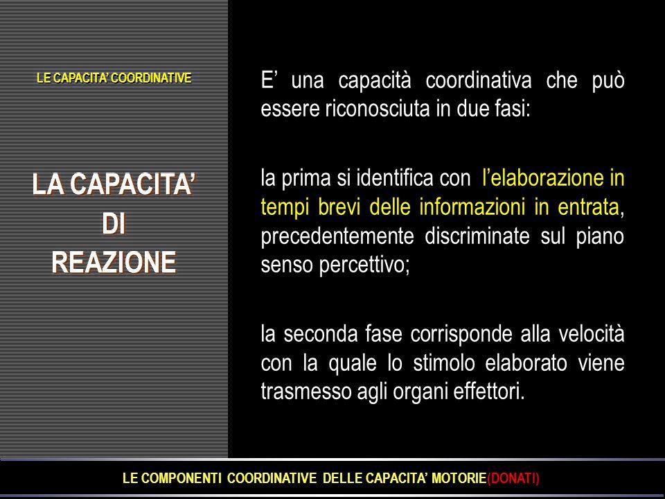 LA CAPACITA' DIREAZIONE DIREAZIONE LE CAPACITA' COORDINATIVE E' una capacità coordinativa che può essere riconosciuta in due fasi: la prima si identif
