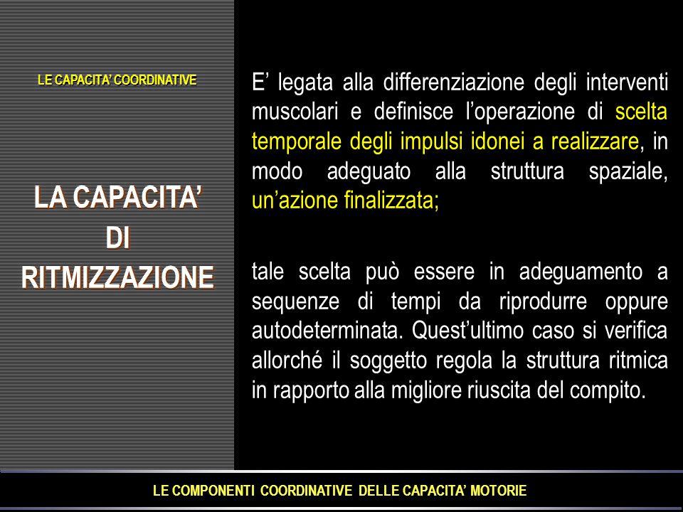 LA CAPACITA' DIRITMIZZAZIONE DIRITMIZZAZIONE E' legata alla differenziazione degli interventi muscolari e definisce l'operazione di scelta temporale d