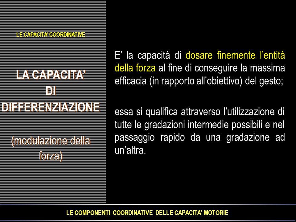 LA CAPACITA' DIDIFFERENZIAZIONE (modulazione della forza) LA CAPACITA' DIDIFFERENZIAZIONE (modulazione della forza) E' la capacità di dosare finemente